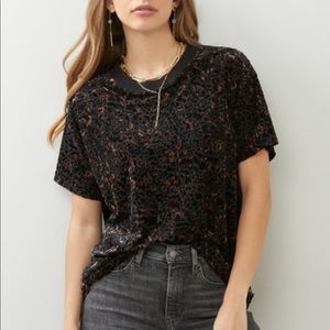 Free People Velvet Teddy Burnout Tee Black Combo